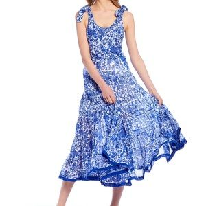 Free People Mika's printed Midi Blue and White